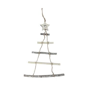 "21.5"" Natural 5-Tier Wall Hanging Twig Tree with Star Christmas Decoration"