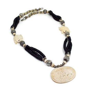 Vintage Beaded Elephant Necklace Carved Bone Black and Cream Antiqued Silver Tone Retro Tribal