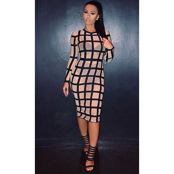 Making Headlines Nude Black Sheer Mesh Geometric Grid Long Sleeve Scoop Neck Bandage Bodycon Midi Dress