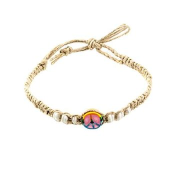AUGUAU Hemp Anklet Bracelet with Shells and Fimo Disc (Tie Dye Peace)