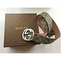 GUCCI Men's Women Leather and GG Belt