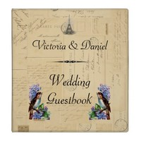 Paris Postcard Bird on Lilacs Wedding Guestbook