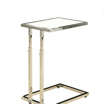 Chrome Metal Adjustable Height Accent Table / Tempered