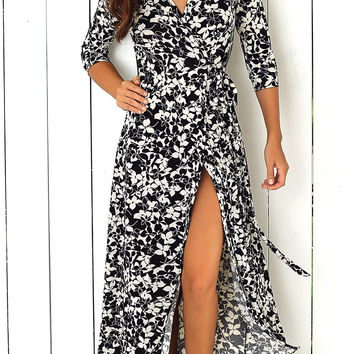 White and Black Flower Print Front Tied Dress