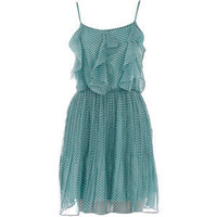Mint spot chiffon dress - Dorothy Perkins - Polyvore