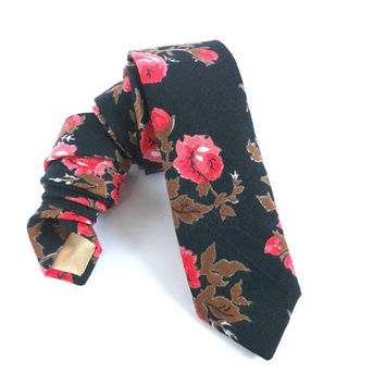 Floral Man Necktie with Black Background and Red Flowers, Man Tie, Man Necktie