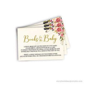 Floral Wreath Baby Shower Book Request Cards