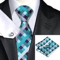 SN-553 Men's 100% Jacquard Woven Silk Neckties Tie handkerchief  Sets for men Formal Wedding Party Free Shipping