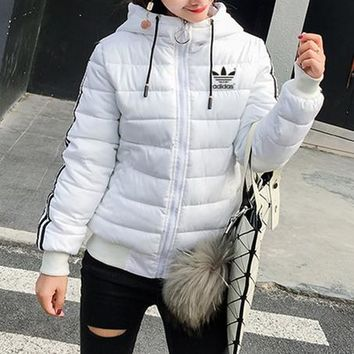 """Adidas"" Women Fashion Stripe Hooded Long Sleeve Zip Cardigan Cotton Clothes Coat"