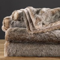 Luxe Faux Fur Throw - Lynx | Throws | Restoration Hardware