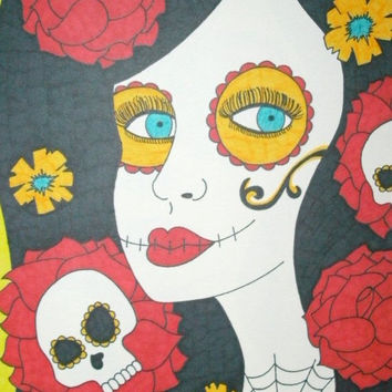 Sugar Skull Girl with Red Yellow Flowers 8x10 Marker and Sharpie Drawing Original Day of the Dead Dia De Los Muertos Wall Decor Alternative