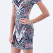 (amp) Floral and paisley short fitted dress