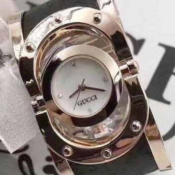 Copy of GUCCI Trending Women Men Personality Quartz Movement Bracelet Watch Wrist Watch Black Belt Rose Gold Shell White Dial I
