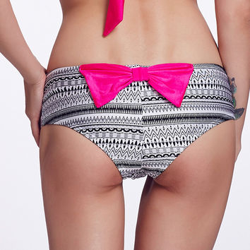 Black and White Tribal Print Panty with Bow Tie