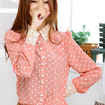 'The Valease' Polka Dots Lace Collar Chiffon Blouse