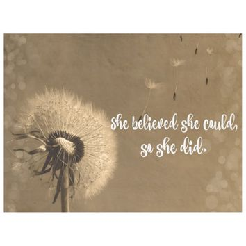 Dandelion: She believed She could so She Did Fleece Blanket