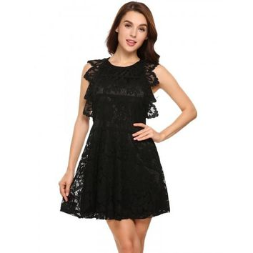 O Neck Sleeveless Lace Backless A Line Ruffle Dress