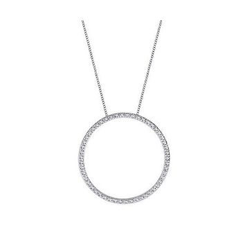 3TCW Round Cut Circle Pendant Russian Lab Diamond Necklace