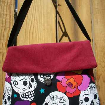 Skulls and Roses Red and Black Girlie Handbag  with Ribbon Strap