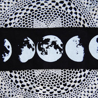 moon phase fabric patch // lunar cycle // screen printed by hand //