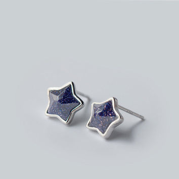 Gemstone star stud earrings 9mm, handmade natural agate stone with sterling silver post, shiny under sunshine, silver unique earrings