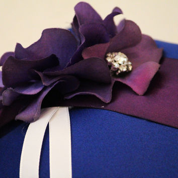 Purple Blue Pillow Wedding Ring for Dogs, Purple Flower on Blue Pillow with Rhienstone, Wedding Dog Accessory, Ring Bearer Pillow