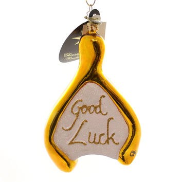 Christopher Radko WISHING BONE Blown Glass Ornament Good Luck Wishbone
