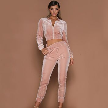 2017 Autumn winter New Fashion Velvet Tracksuits Zipper Jacket Tops And Elastic Waist Pants 2pcs Set Women Sweatsuit