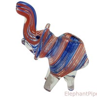 Red Blue Baby Elephant Pipe
