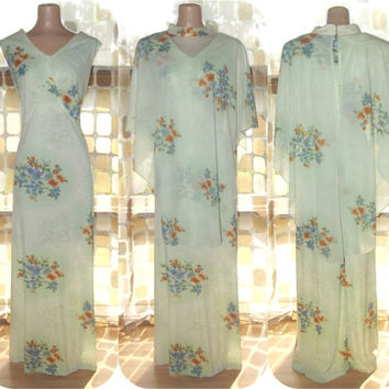 Vintage 70s Light Green Floral Butterfly Maxi Dress XL 1X Sheer Cape Bodice Plus Size BOHO