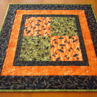 Halloween Table Topper Quilted Handmade Tabletop Home Decor Bats