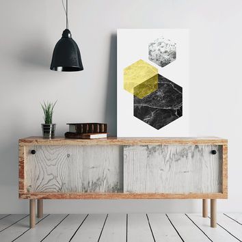 Scandinavian Poster, Hexagon Print, Printable Geometric Art, Geometric Print, Modern Print, Nordic Poster, Abstract Print, Instant Download