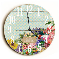 Blue Polka Dot Vintage Flowers Unique Wall Clock by Dickery Dock
