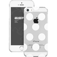 iPhone 5S Case, iPhone 5 Case, iPhone 5S Clear Case, ESR the Beat Series Polka Dots Patterns Hard Clear Back Cover Snap on Case for iPhone 5 / 5S (Clear)