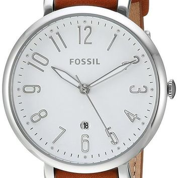 Fossil Jacqueline WHT Dial Brown Black Leather Band Women Watch ES4208