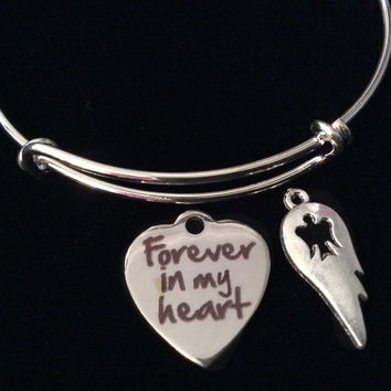 Forever in My Heart Angel Wing Silver Expandable Charm Bracelet Adjustable Wire Bangle Gift Trendy Stacking