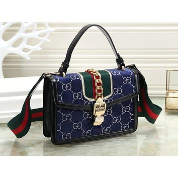Gucci sells ladies'full-print salad zipper shopping bags Blue