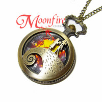 THE NIGHTMARE BEFORE CHRISTMAS Jack and Sally Hill Pocket Watch Necklace