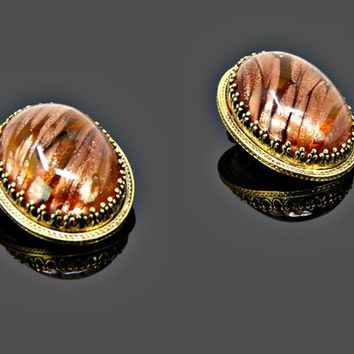 Whiting Davis Chunky Earrings Copper Fluss Lucite Dome Gold Tone Clip On Signed