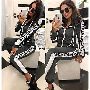 BALENCIAGA Fashion Women Casual Zipper Jacket Coat Top Pants Set Two-Piece Sportswear Grey