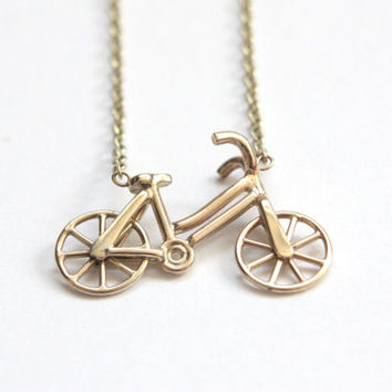 Gold Bicycle Necklace, 9ct Yellow Gold, Moving wheels, Precious Jewellery, Handmade in Brighton, uk