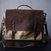 Waxed Canvas Messenger Bags, Leather Bags, Laptop Crossbody Bags, Unisex Messenger Corporate Gift Bags - Designed and Manufactured by CPS