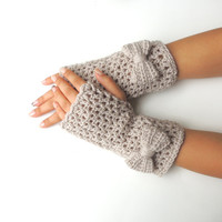 Fingerless gloves, Bow fingerless mittens, hand warmers, by JPwithlove