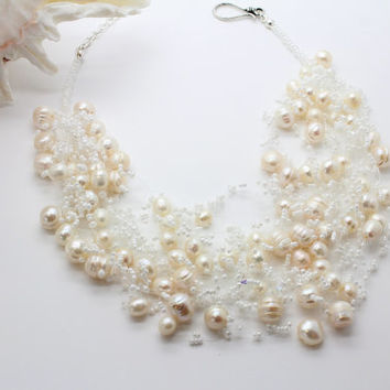 "Airy Crochet - ""LA PERLA"",  Wedding Necklace,  Pearls, Freshwater  Pearls, Seed Bead Necklace, White Crystal Silver, Swarovsky Crystal"
