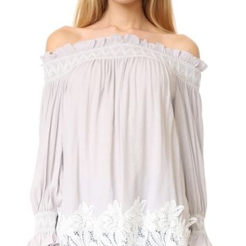 Off Shoulder Smock Top with Lace