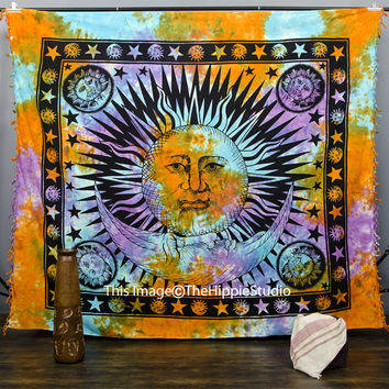 Indian Sun HippieTapestry, Psychedelic Wall Hanging Throw, Tie Dye Mandala Tapestries, Bohemian Tapestry Throw, Boho Bed Spread, Dorm Decor