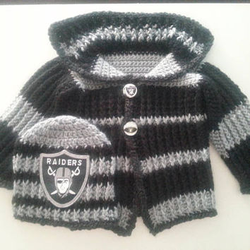 Oakland Raiders Baby Sweater and Hat Set Size 3-6 Months