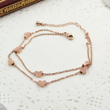 New Arrival Sexy Shiny Jewelry Gift Ladies Cute Korean Stylish Double-layered Heart Titanium Accessory Anklet [8169867015]