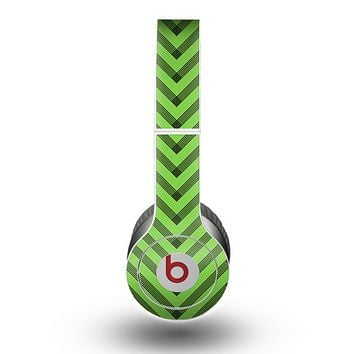 The Lime Green Black Sketch Chevron Skin for the Beats by Dre Original Solo-Solo HD Headphones
