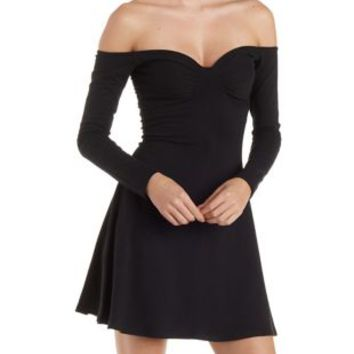 Off-the-Shoulder Skater Dress with Ruched Bust